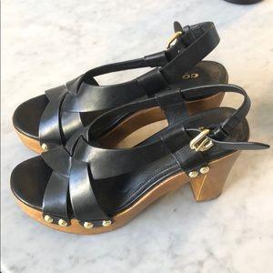 Coach wooden platform sandals size 6
